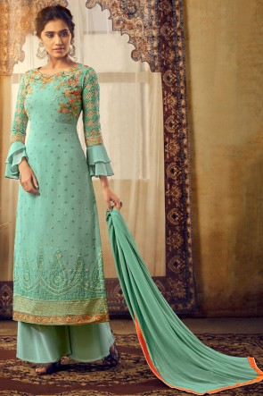Charming Sea Green Embroidered Designer Viscose And Georgette Plazzo Suit With Chiffon Dupatta