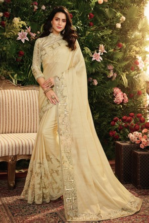 Beautiful Cream Embroidred And Stone Work Designer Silk Saree And Blouse