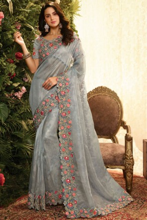 Appealing Grey Embroidred And Stone Work Organza Saree With Embroidred Blouse