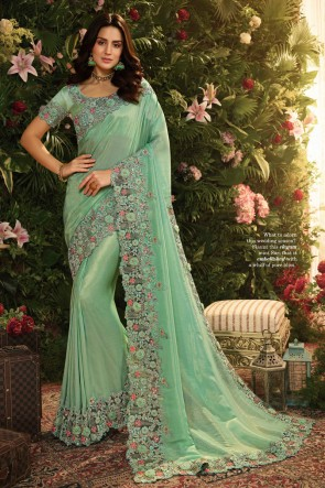 Classy Sea Green Embroidred And Stone Work Silk Saree And Blouse