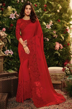 Embroidred And Stone Work Red Viscose Designer Saree And Blouse