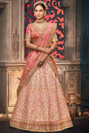 Embroidered And Stone Work Peach Silk Fabric Stylish Lehenga Choli With Net Dupatta
