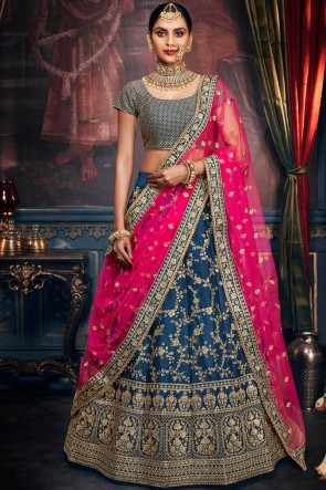Heavy Designer Turquoise Embroidery And Stone Work Lehenga Choli With Net Dupatta