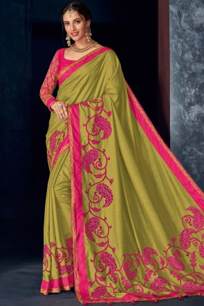 Graceful Stone Work And Embroidered Mehendi Green Silk Fabric Solid Saree And Blouse