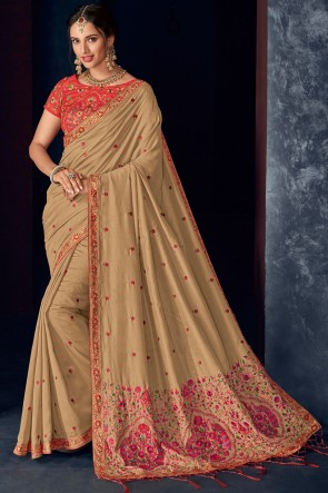 Beige Embroidery Work And Stone Work Silk Superb Saree With Thread Work Blouse