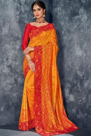 Heavy Designer Silk Orange Embroidery And Stone Work Saree With Thread Work Blouse