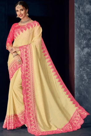 Silk Fabric Cream Stone Work And Embroidery Work Designer Saree And Blouse
