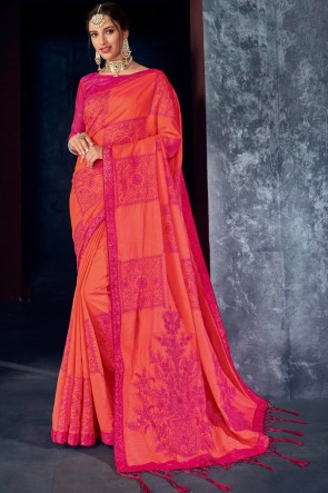 Orange And Pink Silk Fabric Embroidered And Thread Work Designer Saree And Blouse