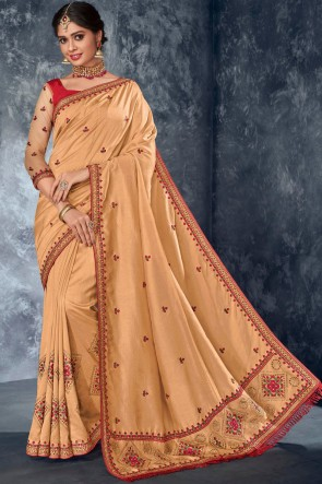 Cream Stone Work And Embroidered Silk Fabric Lovely Saree And Stylish Blouse