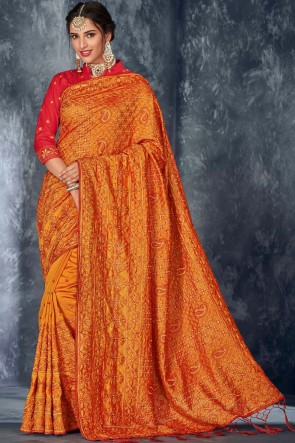 Embroidery And Stone Work Designer Silk Fabric Orange Stylish Saree And Blouse