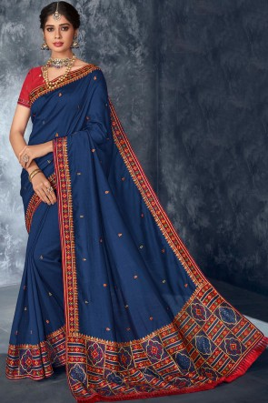 Party Wear Blue Embroidery And Stone Work Silk Fabric Saree With Thread Work Blouse