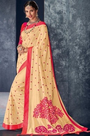Appealing Cream Embroidery And Stone Work Silk Fabric Saree With Thread Work Blouse