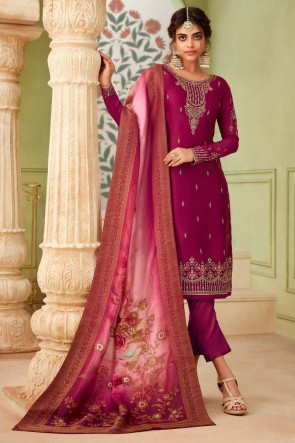 Violet Embroidered And Stone Work Georgette Satin Salwar Suit And Dupatta