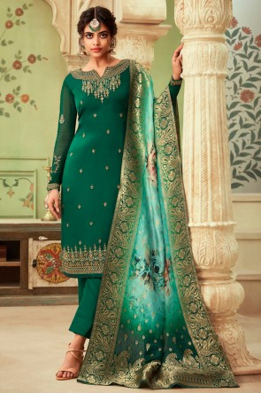 Party Wear Green Embroidered And Stone Work Georgette Satin Salwar Suit And Dupatta