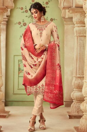 Charming Cream Embroidered And Stone Work Georgette Satin Salwar Kameez And Dupatta