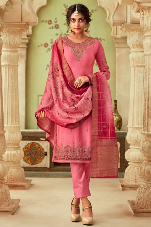 Delightful Pink Embroidered And Stone Work Georgette Satin Salwar Suit And Dupatta