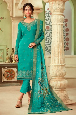 Marvelous Sea Green Embroidered And Stone Work Georgette Satin Salwar Kameez And Dupatta