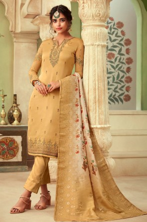 Gorgeous Georgette Satin Beige Embroidered And Stone Work Salwar Suit And Dupatta