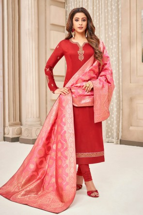 Party Wear Red Embroidered And Stone Work Silk And Cotton Casual Salwar Suit With Jacquard Dupatta