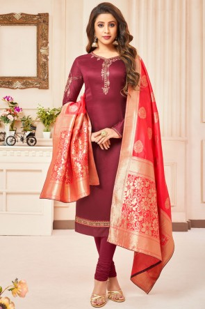 Maroon Embroidered And Stone Work Silk And Cotton Casual Salwar Suit With Jacquard Dupatta