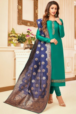 Marvelous Turquoise Embroidered And Stone Work Silk And Cotton Casual Salwar Kameez With Jacquard Dupatta