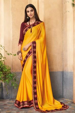 Delightful Yellow Embroidered Designer Silk Saree With Banglori Silk Blouse