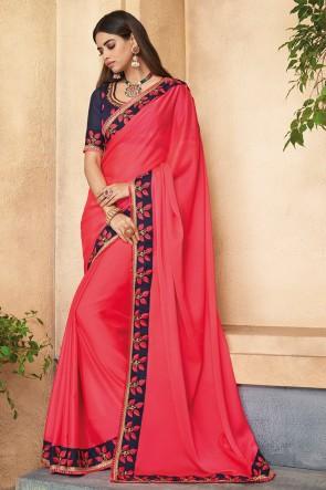 Elegant Embroidered Pink Silk Designer Saree With Banglori Silk Blouse