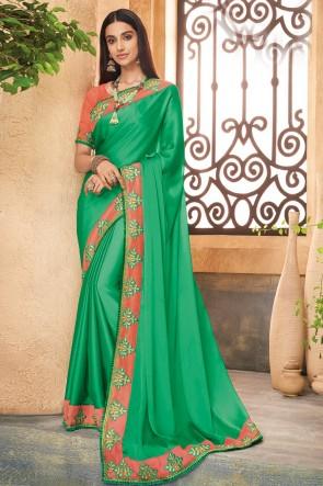Fascinating Green JEmbroidered Silk Saree With Banglori Silk Blouse