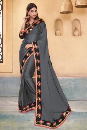 Gorgeous Grey Embroidered Designer Silk Saree With Banglori Silk Blouse