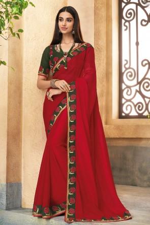 Heavy Designer Maroon Embroidered Silk Saree With Banglori Silk Blouse
