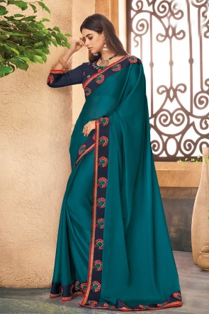 Solid Teal Embroidered Silk Saree With Border With Banglori Silk Blouse
