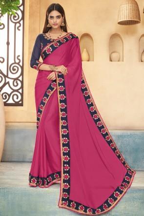 Admirable Pink Embroidered Silk Saree With Banglori Silk Blouse
