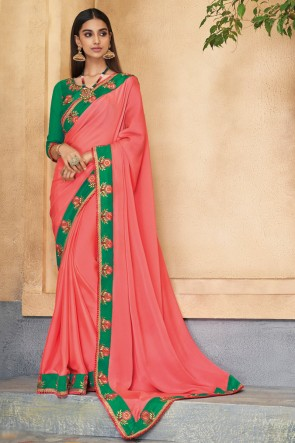 Desirable Peach Embroidered Silk Saree With Banglori Silk Blouse