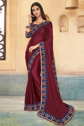 Optimum Brown Embroidered Silk Saree With Banglori Silk Blouse