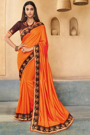 Excellent Orange Embroidered Silk Saree With Banglori Silk Blouse