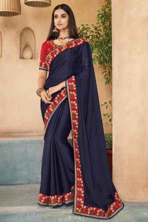 Delicate Navy Blue Embroidered Silk Saree With Banglori Silk Blouse