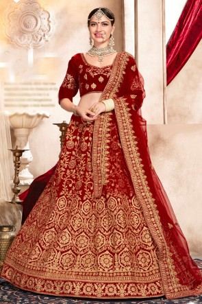 Dazzling Red Hand work And Embroidred Velvet Lehenga Choli With Net Dupatta