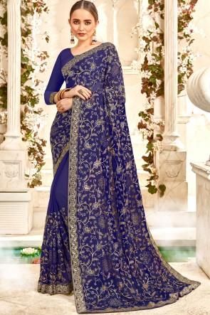 Border Work And Lace Work Blue Georgette Fabric Stylish Saree And Blouse