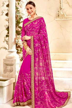 Appealing Border Work And Lace Work Pink Solid Saree With Georgette Blouse