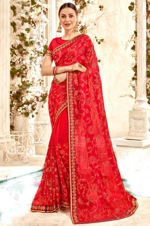 Georgette Fabric Red Border And Embroidery Work Designer Saree And Blouse
