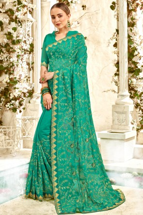 Delightful Georgette Fabric Green Border And Embroidery Work Saree And Blouse
