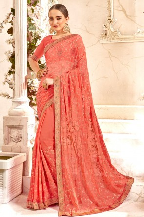 Fascinating Peach Embroidery And Lace Work Georgette Fabric Saree And Blouse