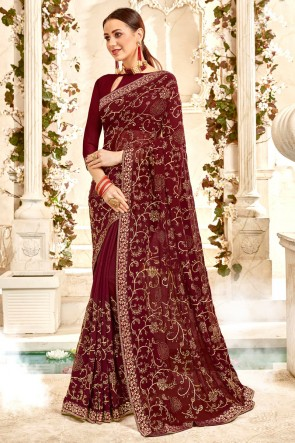 Lace Work And Border Work Designer Brown Georgette Fabric Saree And Blouse