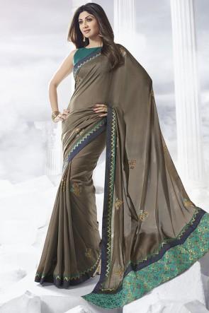 Shilpa Shetty Designer Khaki Border Work Satin Fabric Saree And Thread Work Blouse