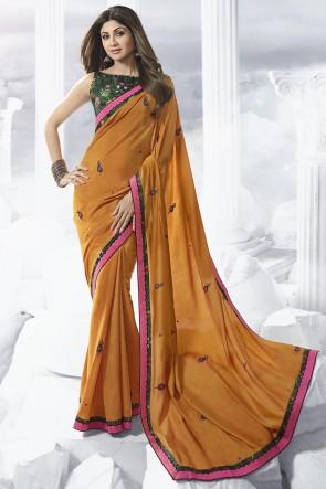 Shilpa Shetty Orange Border Work Designer Satin Fabric Saree And Thread Work Blouse