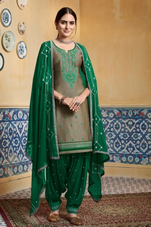 Khaki Embroidery Work Designer Satin Fabric Patiala Suit With Nazmin Dupatta