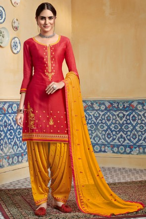 Satin Fabric Red Embroidery Work Designer Patiala Suit With Nazmin Dupatta
