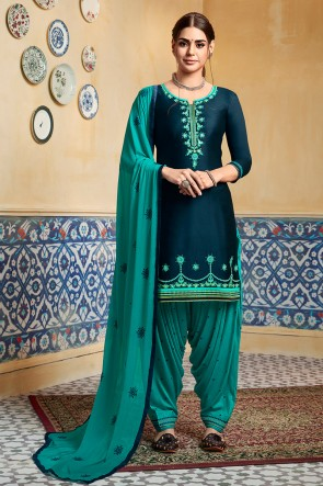 Rayon Bottom Royal Blue Satin Fabric Embroidered Patiala Suit With Nazmin Dupatta