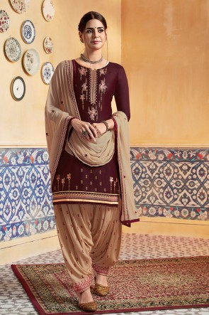 Brown Satin Fabric Embroidered Designer Patiala Suit And Rayon Bottom