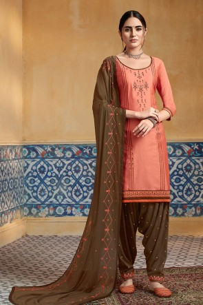 Peach Satin Fabric Embroidered Designer Solid Patiala Suit With Nazmin Dupatta
